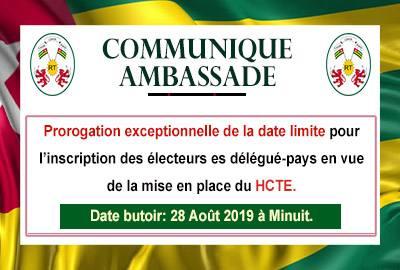 Prorogation exceptionnelle de la date limite pour l'inscription des électeurs et des candidats au poste de délégué-pays-- HCTE